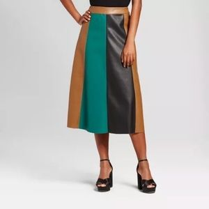 Who What Wear Faux Leather Full A Line Midi Skirt